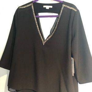 Silk black dressy shirt. 3/4 sleeve. NWT